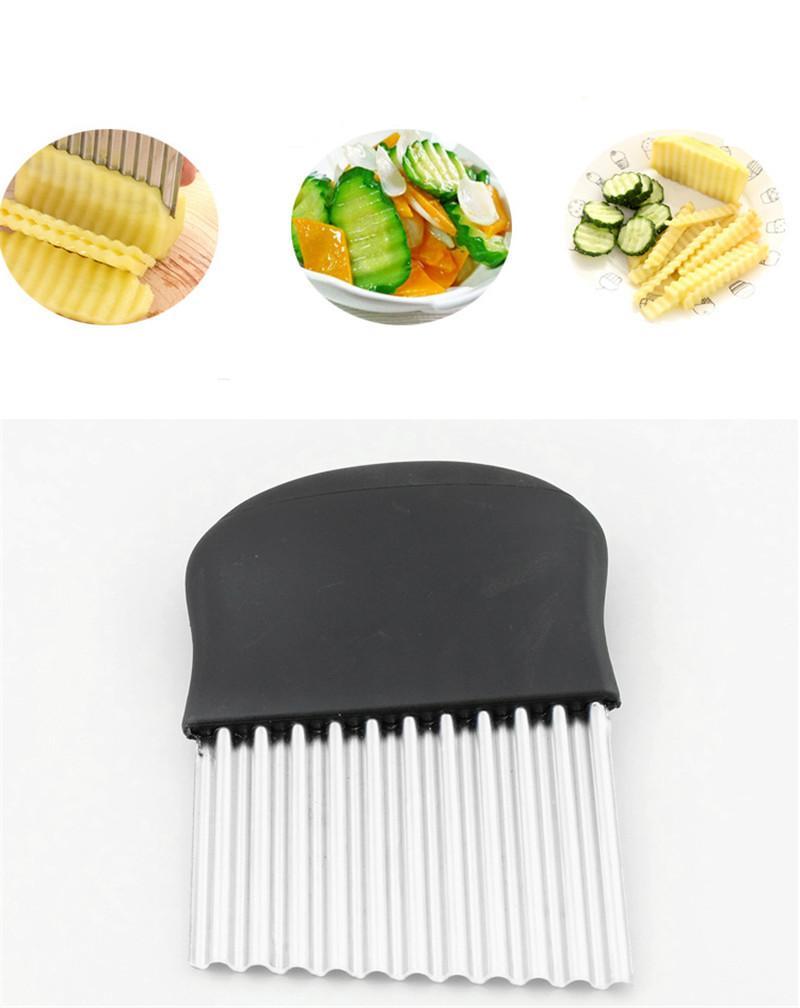 2018 vendita calda utensili da cucina gadget di verdure Wave Chopper Potato Cutter Knife cipolla Forcella Holder affettare in acciaio inox