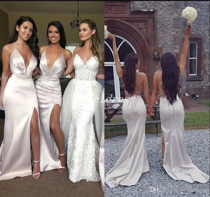 8abb498ccf4 2018 Silver Mermaid Bridesmaid Dresses Spaghetti V Neck Side Split Criss  Cross Straps Country Beach Wedding Guest Gowns Maid Of Honor Dress Blush  Pink ...