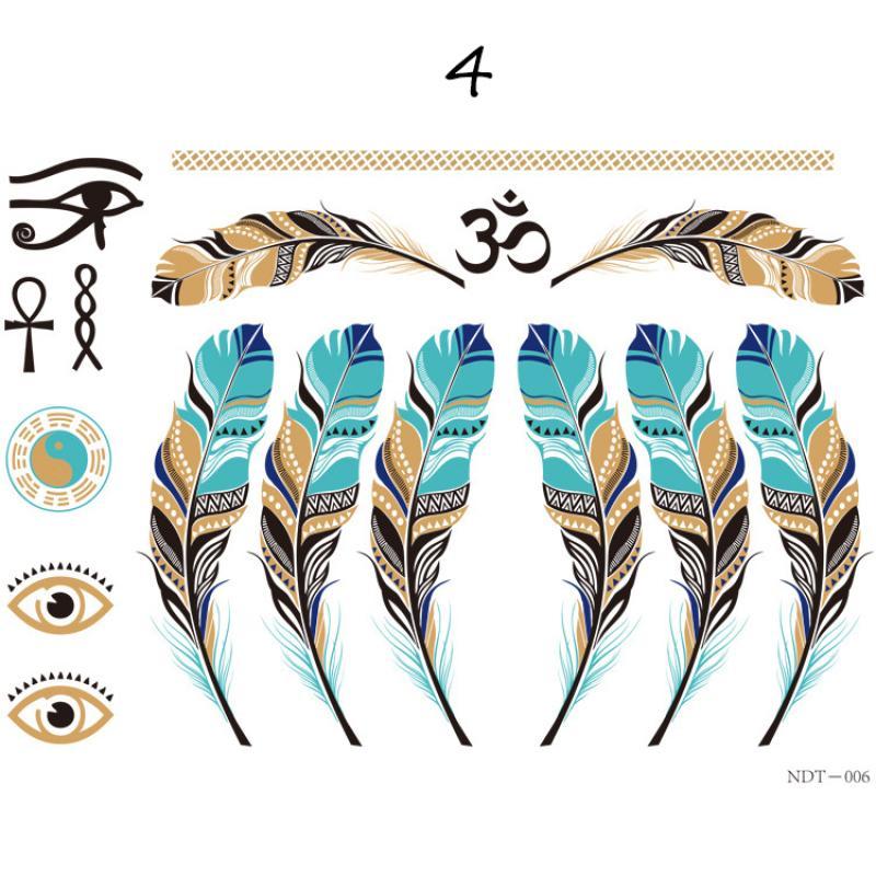 Temporäre Haar Tattoo Taty Henna Metallic temporäre Tattoos Frauen Aufkleber Haarschmuck Haar Tattoo trendige Tattoo L4