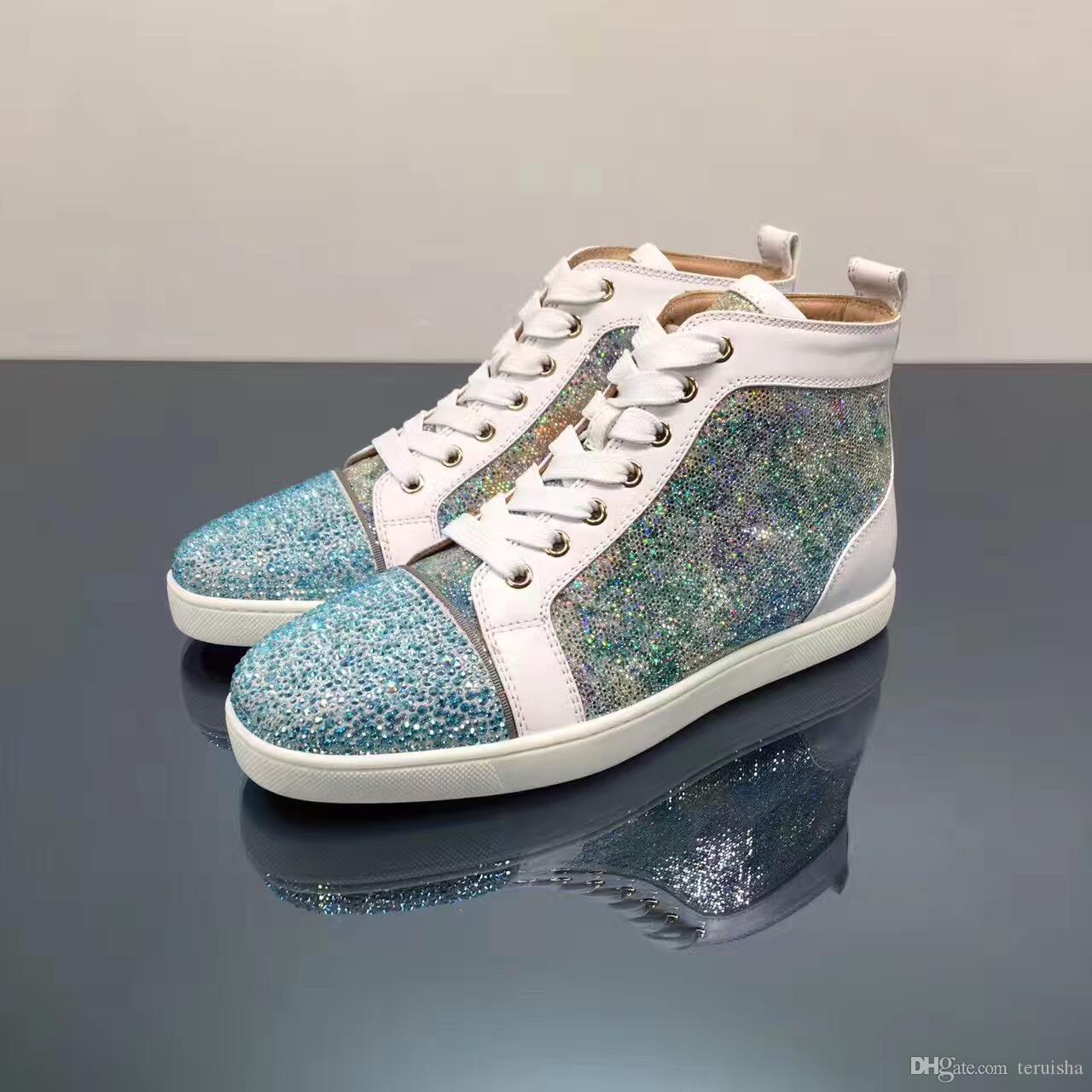 sale retailer f812b 55a35 2018 Sequins & Blue Rhinestone Strass Red Bottom Shoes Men Women s Flat Red  Sole Shoes High-Top Sneaker Lace-up Casual Shoes