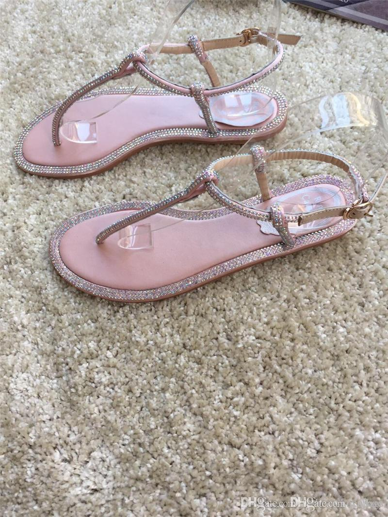 d66b48a410ef1f 2018 Newest High Quality Rene Caovilla Floral Embellished Crystal Flower  Thong Sandal Nude With Original Box Moccasins For Men Shoe Sale From  Xiubao