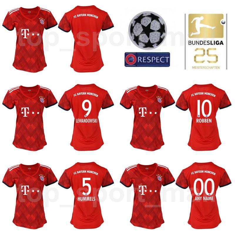 FC Bayern Munich Mujeres LEWANDOWSKI Jersey 2018 2019 Bundesliga Lady  ROBBEN JAMES MULLER HUMMELS Kits De Camiseta De Fútbol De Mujer Inicio Rojo  Verde Por ... 02a4422ce31e3
