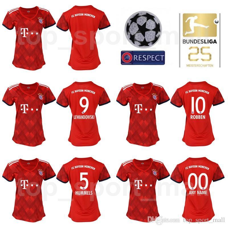 buy popular b0127 a01b9 FC Bayern Munich Women LEWANDOWSKI Jersey 2018 2019 Bundesliga Lady ROBBEN  JAMES MULLER HUMMELS Woman Football Shirt Kits Home Red Green