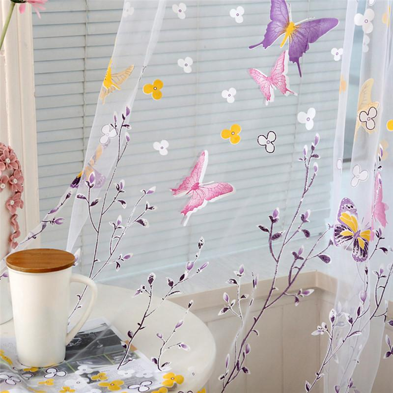Sheer Curtains Butterfly Branches Printed Tulle 2018 For Living Room Indoor Window Screening Decor Voile