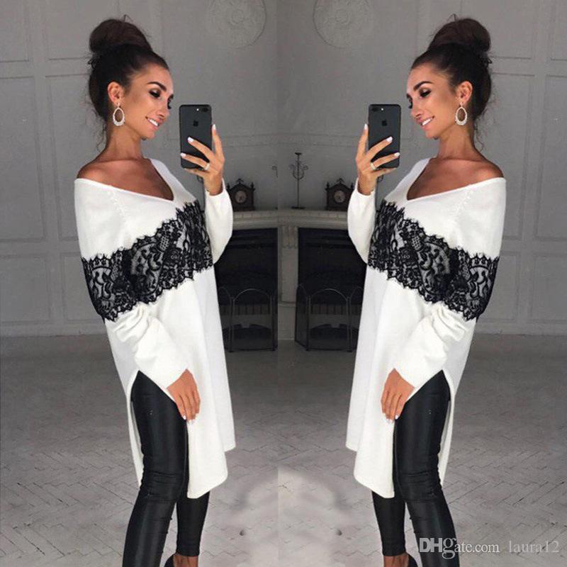 Spring White Cotton Black Lace Applique Fashion Long Women T Shirts 2018 Sexy Long Side Split V Neck Slim Lady Tops Casual Short Dresses
