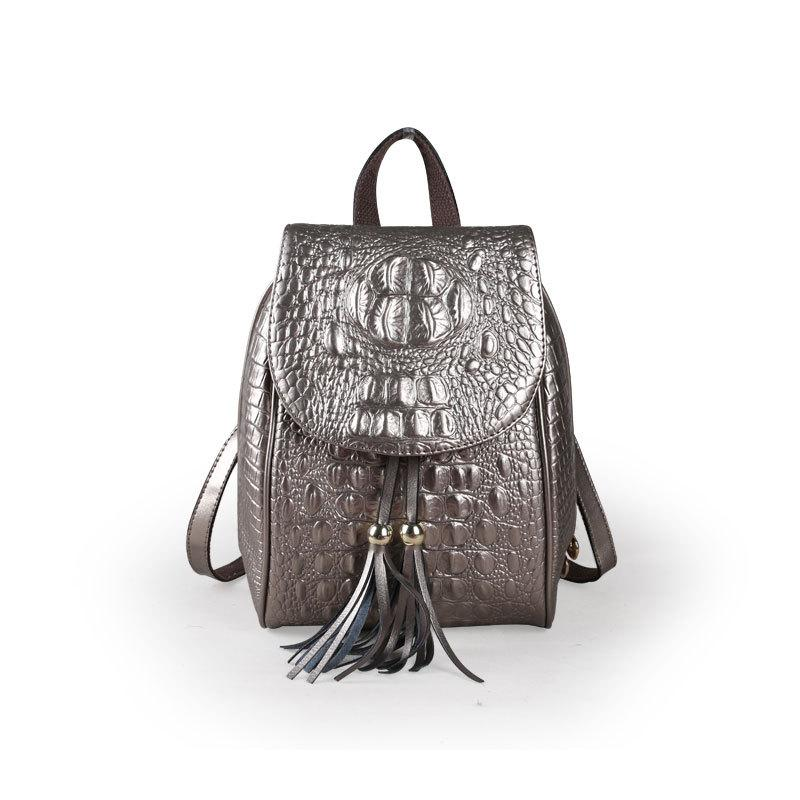 1d019d430a96f9 Backpack Female New Trend Fashion Wild Leather Backpack Crocodile Pattern  Tassel Leather Handbag Large Handbags Black Leather Handbags From  Loveshanhuo, ...