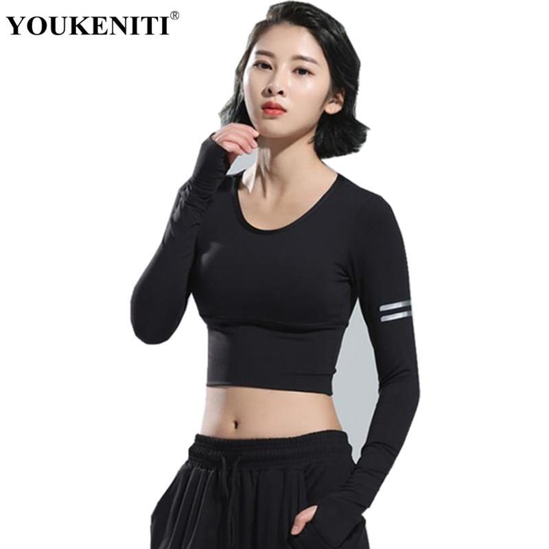 2018 2018 Women Gym White Yoga Crop Tops Yoga Shirts Long Sleeve
