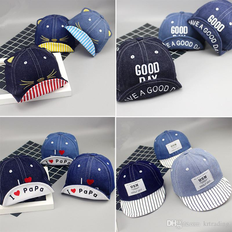 3f170eda93d 2019 0 3T Baby Cowboy Embroidery Denim Ball Cap Infants Boys Girls Letters  Printing Emboirdery Turning Brim Soft Hat Baseball Cap Toddlers Chic From  ...