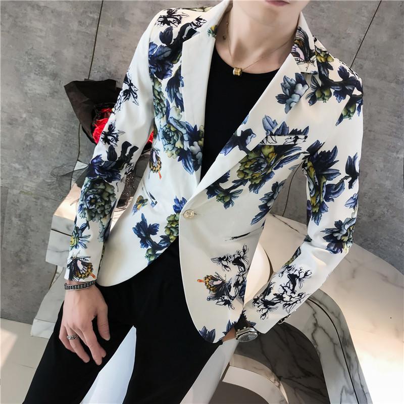add58eec6 Blazer floral para hombre Terno masculino Slim Fit 2018 Blazers con estilo  de otoño para hombres Blazers Para Hombre Chaqueta de traje con un solo ...