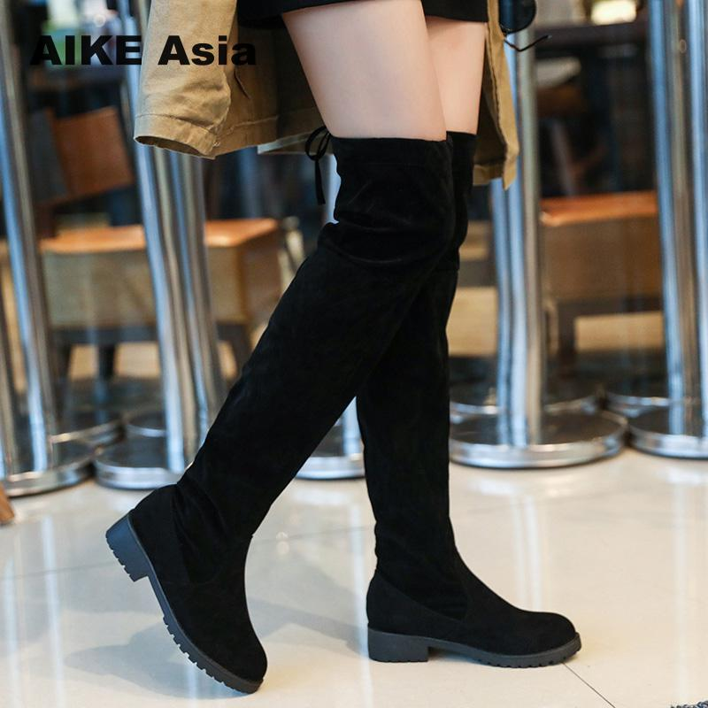 981fe5d394a5f Size 34 41 Winter Over The Knee Boots Women Stretch Fabric Women Thigh High  Sexy Lace Up Woman Flat Shoes Long Bota Feminina Girls Boots Black Ankle  Boots ...