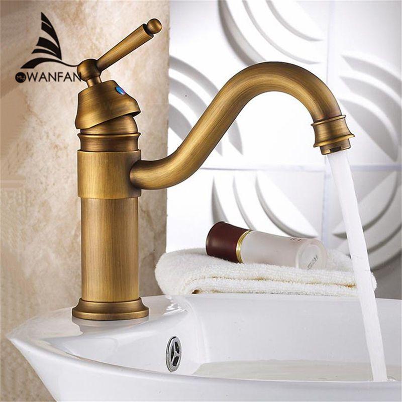 2018 Basin Faucets Antique Brass Bathroom Sink Faucets Single Handle ...