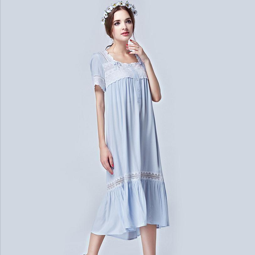 ad7949154fbb 2019 2017 Autumn Cotton Silk Sleepwear Female Short Sleeve Blue Lace  Elegant Victorian Long Nightgown W1212 From Zhusa