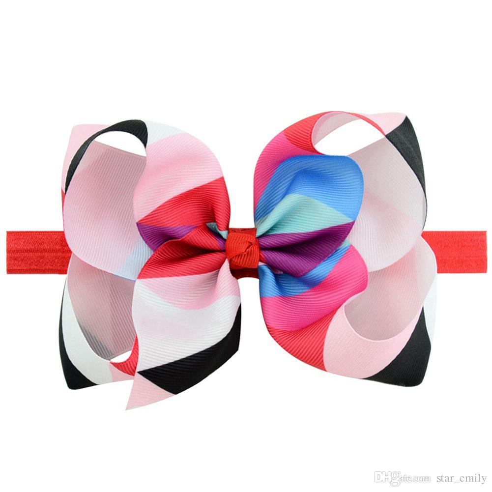 Baby Big Headbands Girls Cute Bow Hair Band Colorful Lovely Headwrap Children Bowknot Elastic Accessories Butterfly Hair bow 345