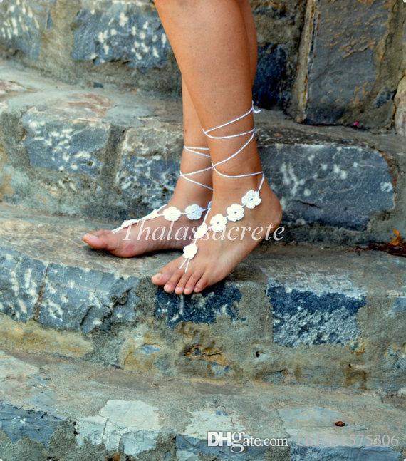 White Floral Barefoot Sandals, Wedding Barefoot, Crochet Sandles, Nude Shoes, Foot Decoration, Yoga, Foot Jewelry, Foot thongs.