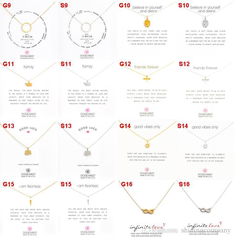 القلائد المختنق بطريقة Dogeared مع بطاقة بيضاء مطلية بالفضة قلادة قلادة 49 تصاميم في الذهب والفضة