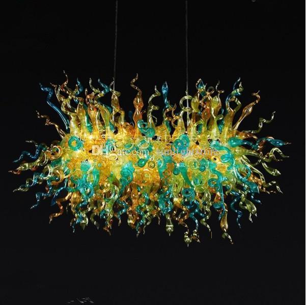 Venta al por mayor Lámpara de techo Decoración de arte interior Fuente de luz LED Estilo Chihuly Mano soplado Murano Glass Shade Chandelier