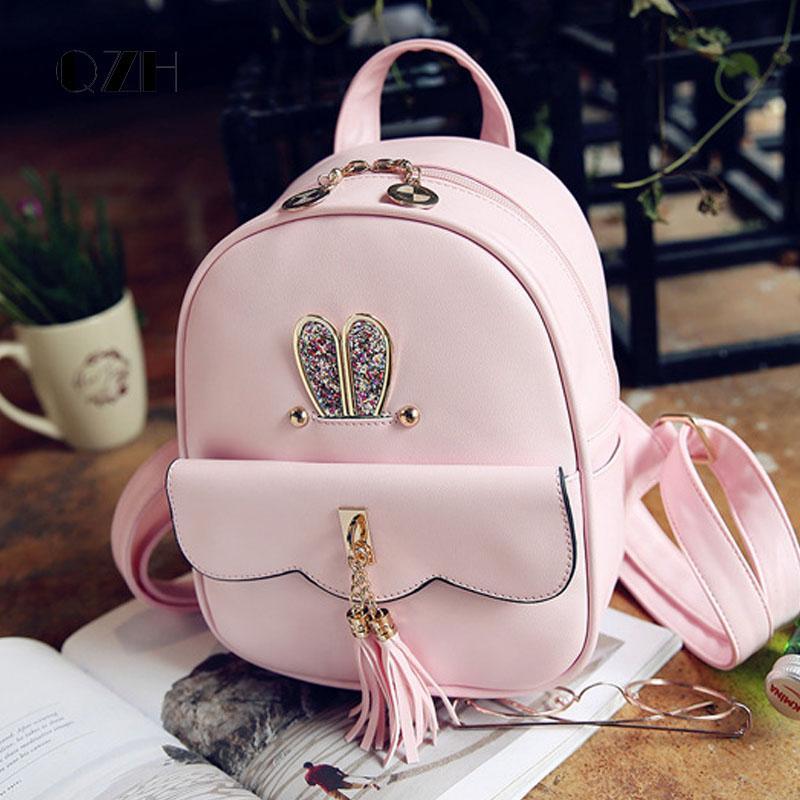 Qzh Backpack Small Pu Leather Princess Girls School Bags Cute Kids Backpacks  Shoolbag Female Teenager Girl Travel Back Pack Leather Backpack Girls School  ... 1c959af7e7