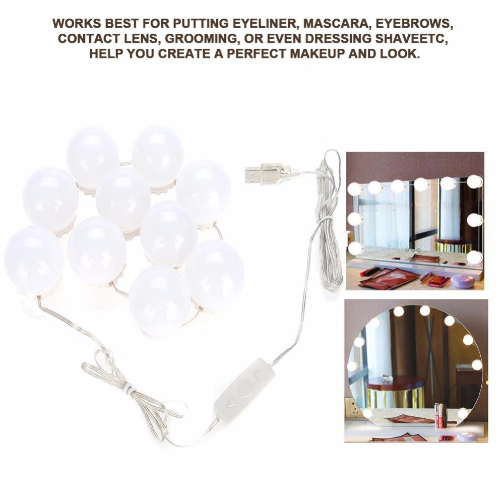 10 Bulbs Vanity Led Makeup Mirror Lights Dimmable Bulb Concealable Wiring A Light String Warm Cold Tones Make Up Mirrors Cosmetic 10x Magnifying