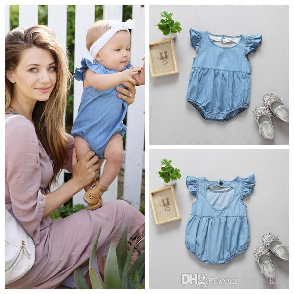 cb0c32c6f5bb 2019 Baby Girls Romper Summer Newborn Baby Girls Denim Romper ...