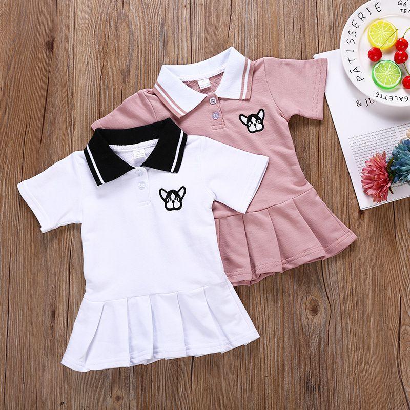 fcd7dc4d2362 2019 Summer Baby Girls Pink White Preppy Style Dresses Animal ...