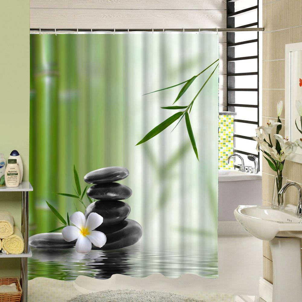 2019 2017 New Zen Shower Curtain Stone Flower Green Bamboo Bathroom Decor 3d Fabric Printing Accessory With 12 Rings Y1068 From Sophine09 2391