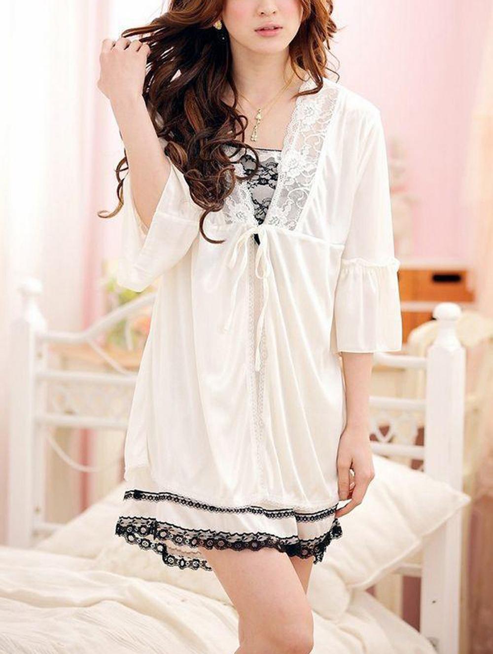 Mode Frauen Damen Sexy Sommer Lace Strap Nachtkleid Nachtwäsche Set SL