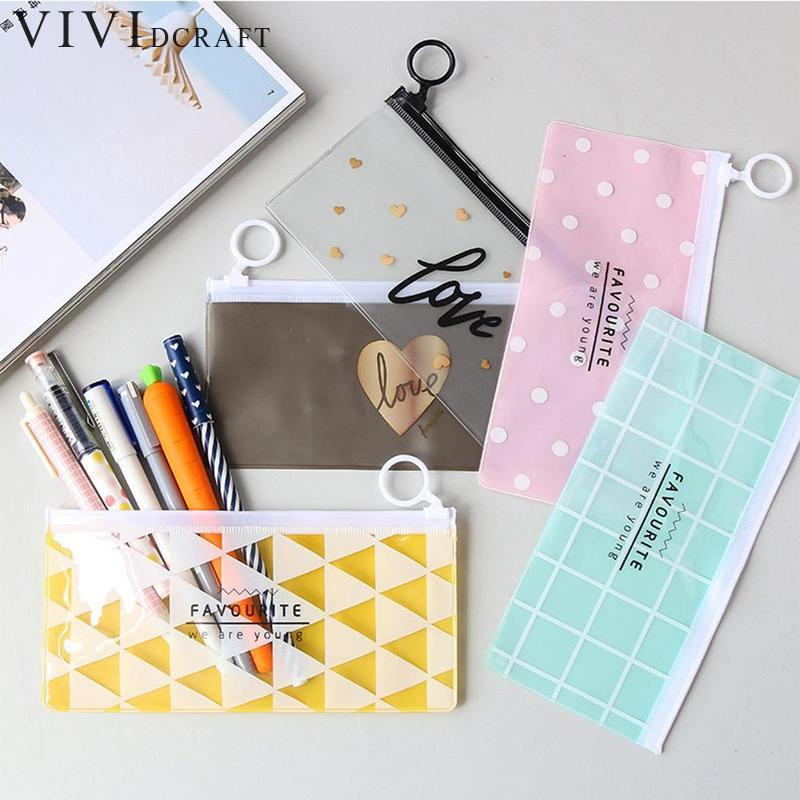 Vividcraft Creative Waterproof PVC Kawaii Pencil Bag Envelope Edge Receive Bag Student Simple Pencil Case Zipper Pouch