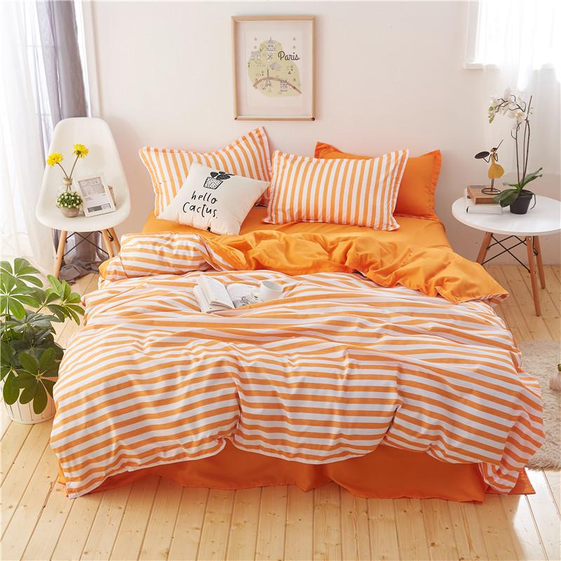 Stripe White Orange Bedding Set Duvet Cover Pillowcases Bed Sheet Bed Linen  Twin Queen King Size High Quality Bedclothes Shop For Bedding Contemporary  Duvet ... 0f31f9f57f5b