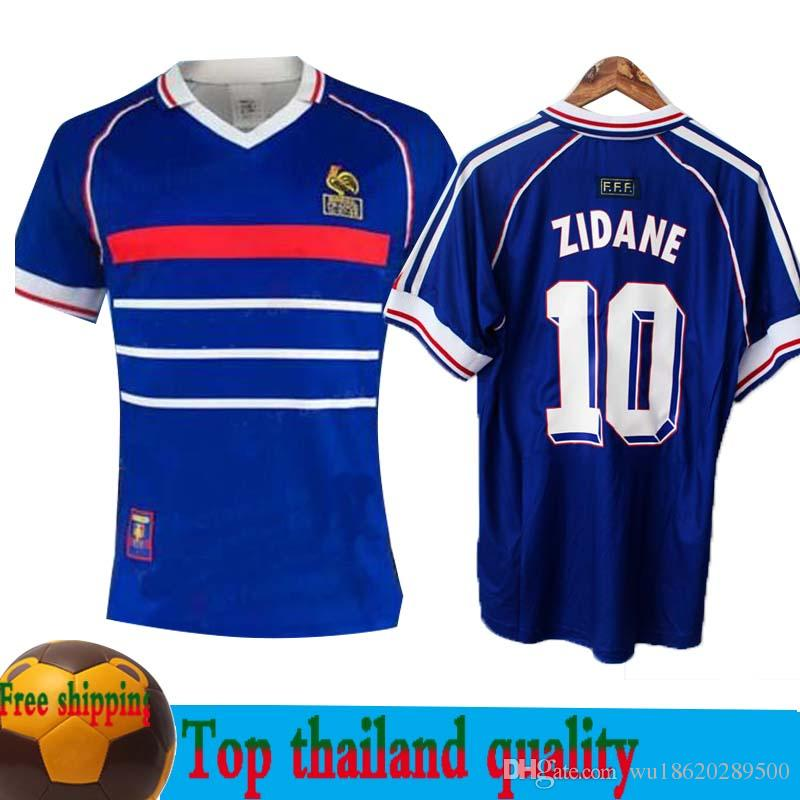 da707e622 1998 FRANCE RETRO VINTAGE ZIDANE HENRY MAILLOT DE FOOT Thailand Quality Soccer  Jerseys Uniforms Football Jerseys Shirt SIZE S XXL UK 2019 From  Wu18620289500 ...