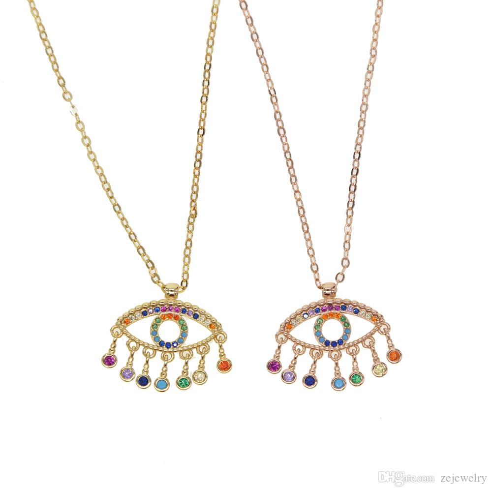 2018 Top sale Fashion lucky evil eye jewelry gold filled multi tassel cubic  zirconia cz rainbow cute girl women beautiful classic necklace