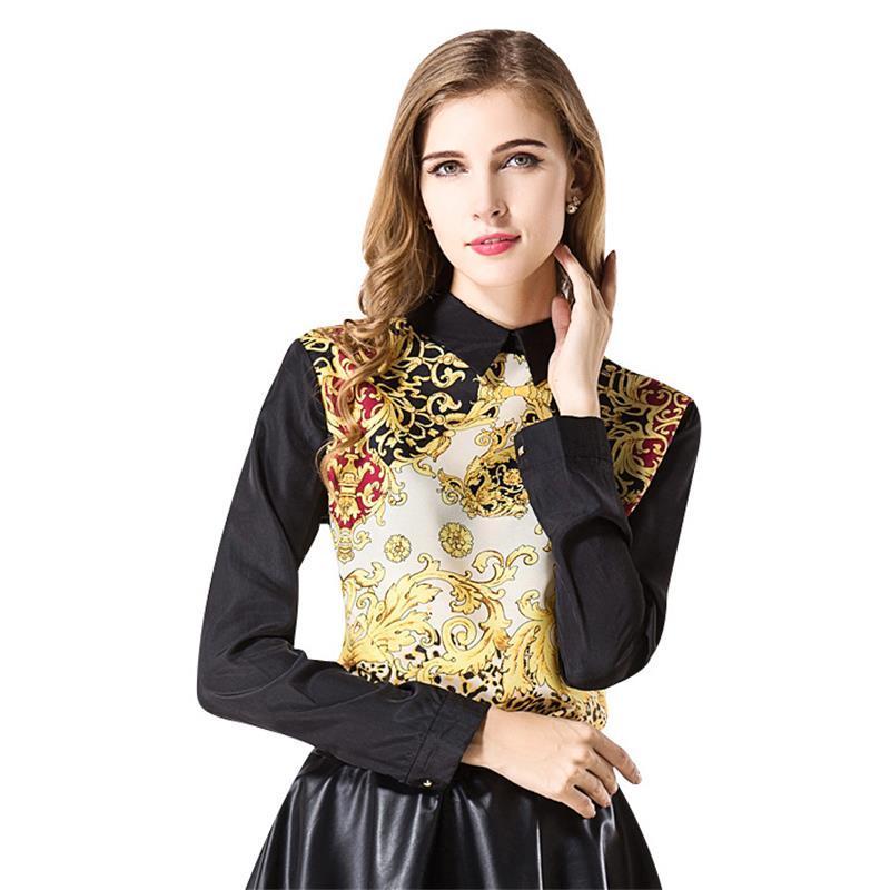 7c0d85ffd11 2019 2017 Women'S Shirt Tops New Fashion Multi Print Retro Totem Doll Long  Sleeve Metal Zipper Women Chiffon Shirts Blouses From Vogocm66, $14.46 |  DHgate.