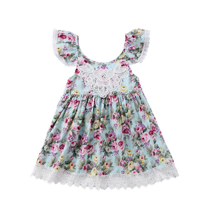 4f4382fe7 2019 Girls Lace Floral Dress Baby Flower Dresses Children INS Kids ...