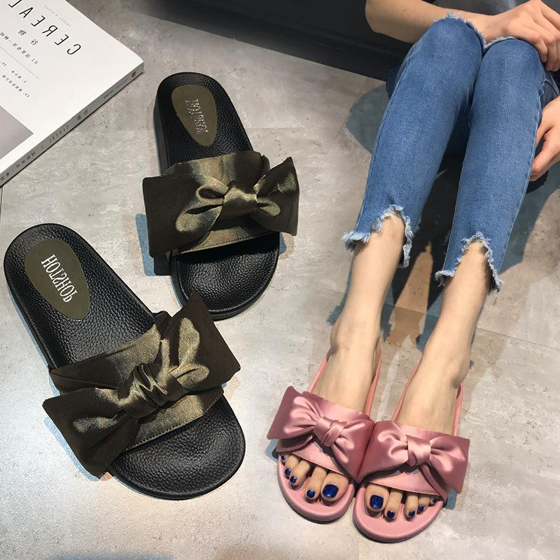 check out 11df3 433e8 Fenty By Rihanna Bow Slides Girl Women Slippers Shoes for Ladies Big Size  White Green Black Hot Sale