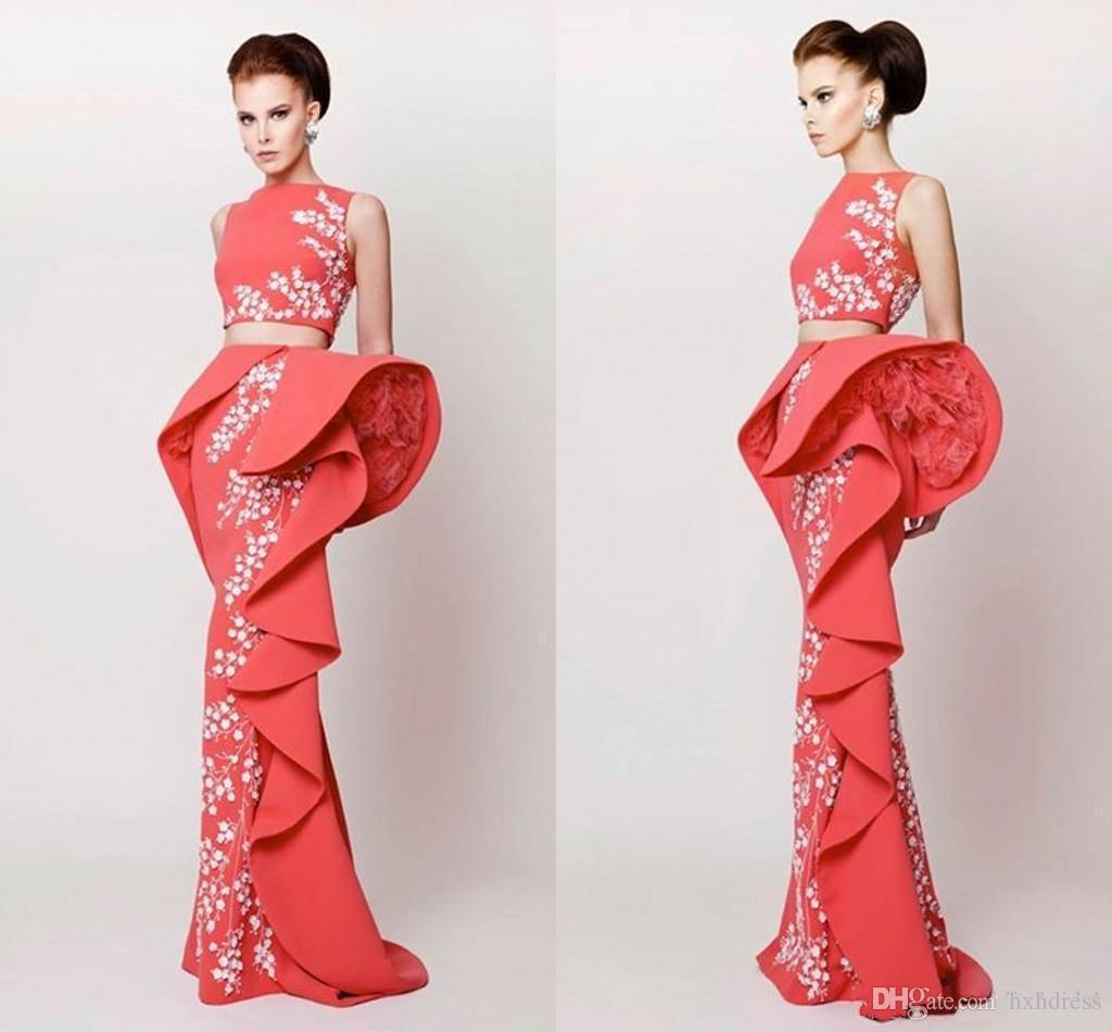 2019 New Arabic Evening Dresses Two Pieces Satin Coral Evening Gowns With White Appliques Sheath Peplum Tiered Ruffle Long Prom Dresses