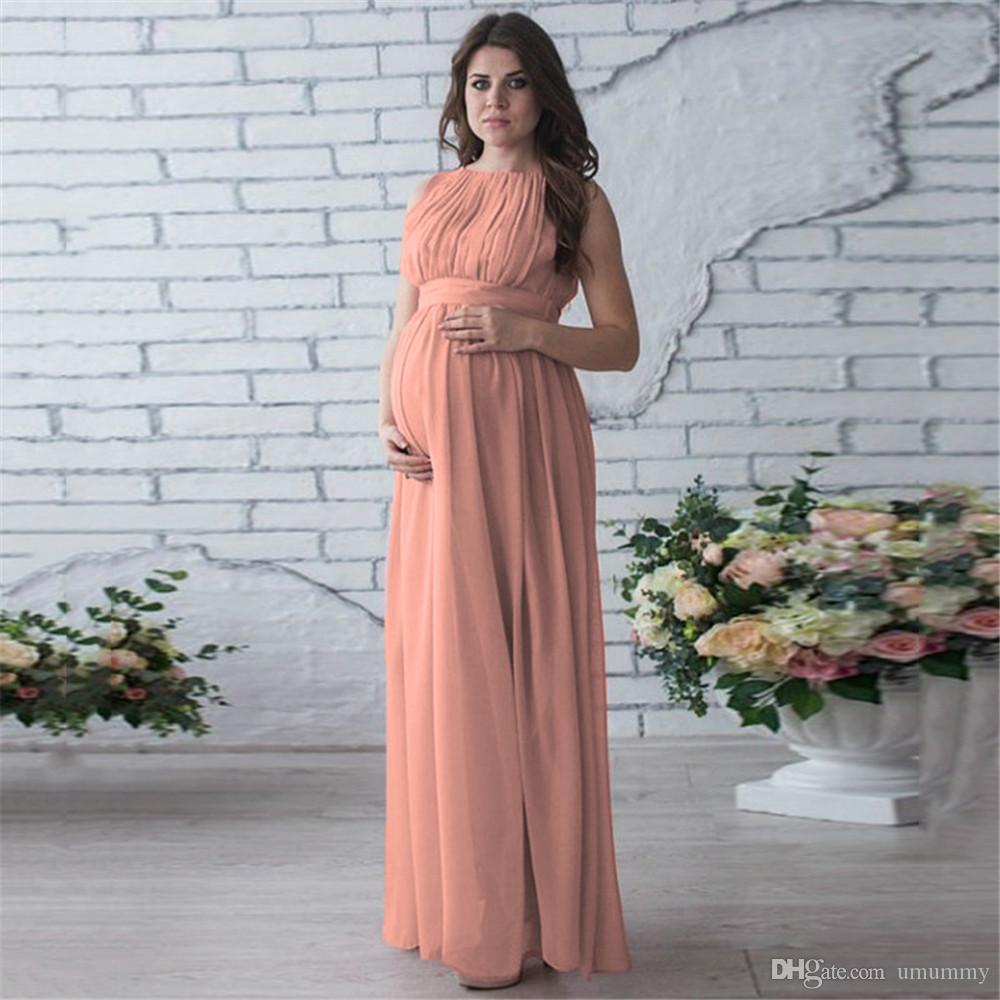 2019 Elegant Maternity Gown Sleeveless Photography Props Crewneck