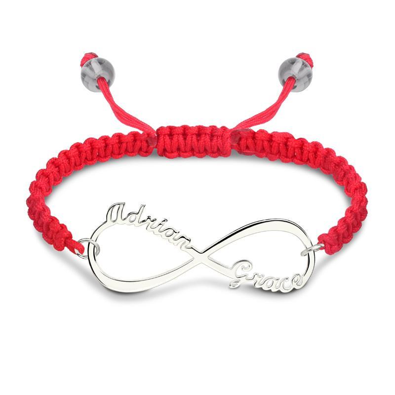 6fe7c9bbe1b2 Compre Amuleto De Plata Pulsera De Hilo Rojo Nombre De Infinito  Personalizado Pulseras Colgantes Hecho A Mano Cuerda De Cuerda Regalos De  Joyería Para ...