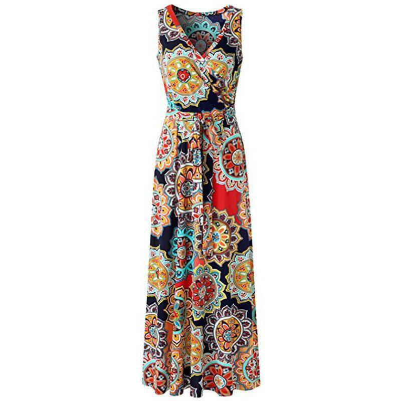 9abd883a84b 2018 Women Holiday Sleeveless Dresses Element Print Sexy V Neck Sleeveless  Maxi Long Dress Floral Print Casual Boho Dress Summer Sundress Womens Floral  ...