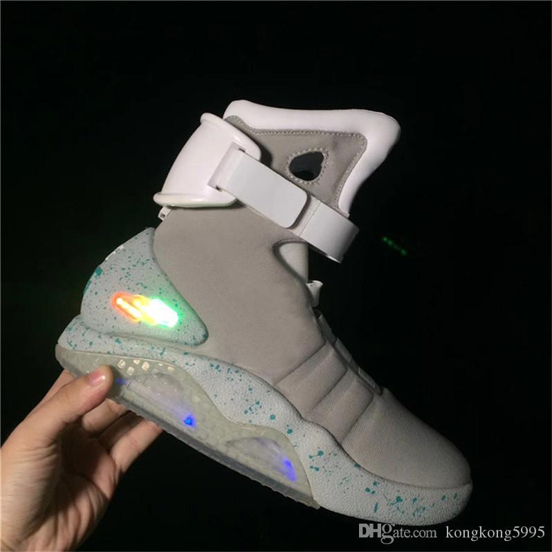 Air Mag Sneakers Marty McFly S LED Shoes Back To The Future Glow In The  Dark Gray Black Mag Marty McFlys Sneakers With Box Top Quality Basketball  Shoes For ... adb5006b41