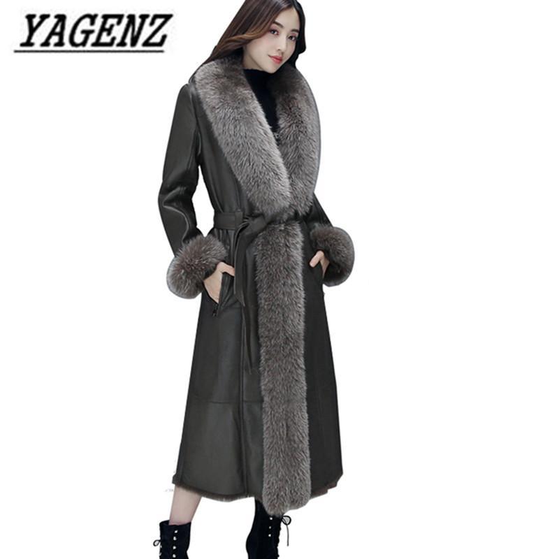 63860ee6c2ec Acheter Veste En Cuir Des Femmes D hiver Manteaux 2018 Nouveau Tempérament  Coréen Mince Col De Fourrure Grande Longue Pardess Hiver Veste En  Similicuir 2XL ...