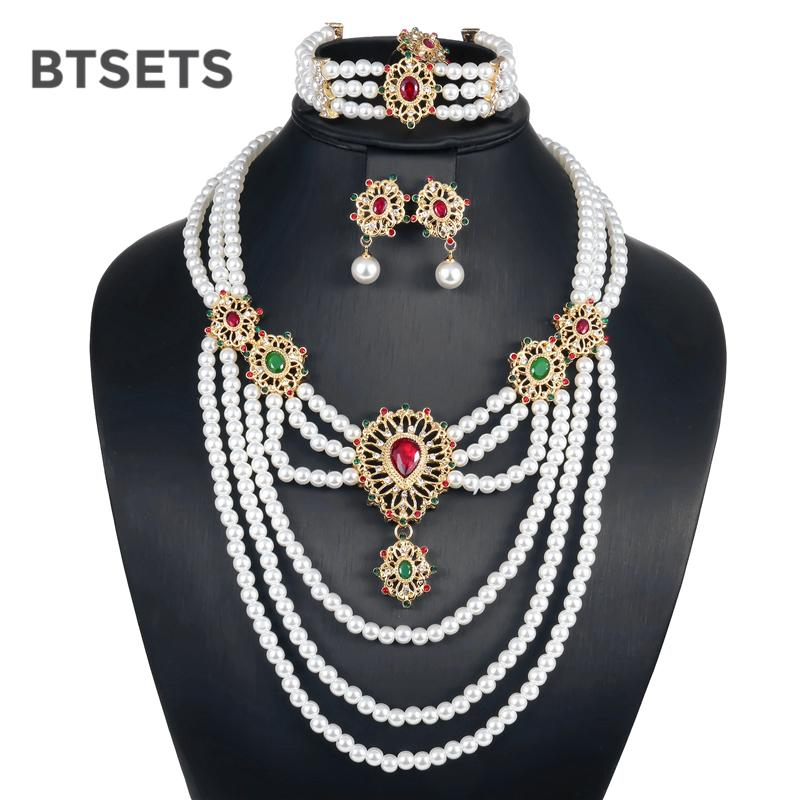 BTSETS Bridal Wedding Jewelry Sets For Women Simulated Pearl African Beads Jewelry  Set Fashion Nigerian Turkish Jewellery Set Wedding Hair Jewelry Wedding ... e17d8d88ea28