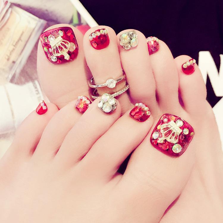 Red 3d Toe Nails Crown Rhineston Toe False Nails Short Full Cover
