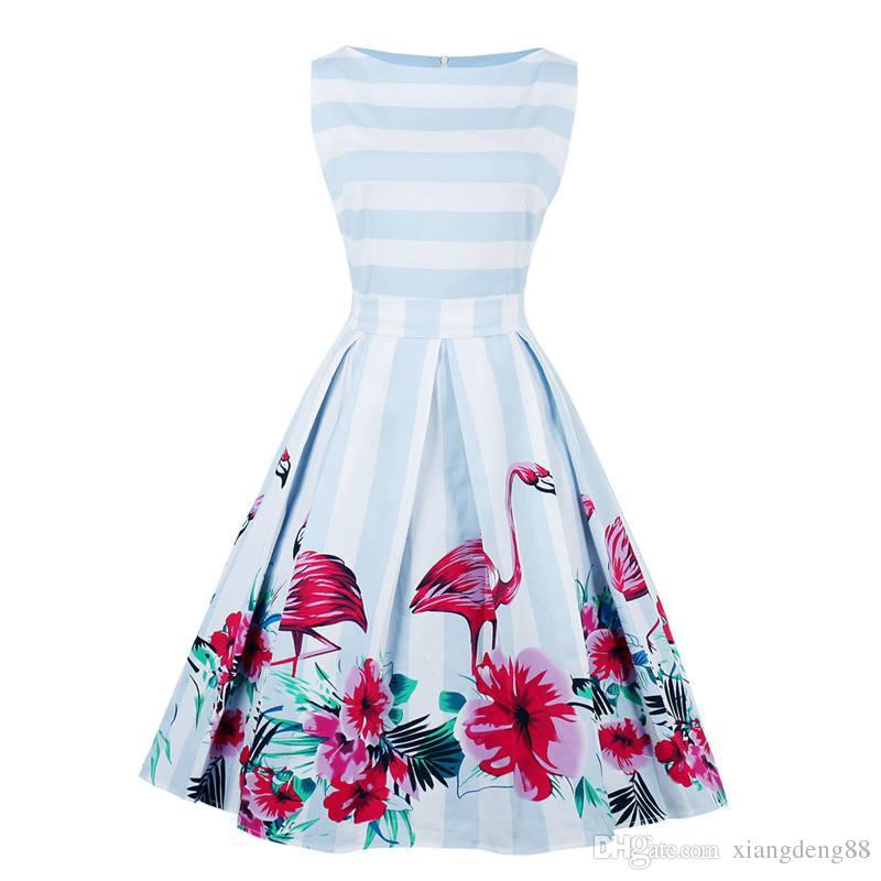 97b05feba68 2018 Ladies Flamingo Print Summer Dress Women Sleeveless Hepburn 50s 60s Vintage  Dress Striped Tunic Party Dresses Plus Size Hot Grey Party Dress Blue Lace  ...