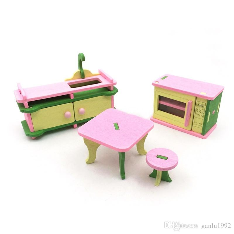 Children Wood Pretend Play And Dress Up Blocks Toys Miniature Wooden Doll House Kitchen Table Suite Personality Building Block Toy 6td W