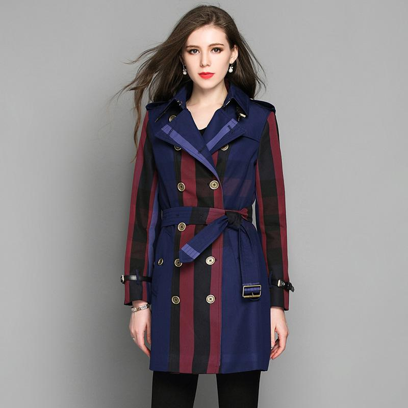 b741475240b 2019 2018 New Spring Long Trench Coat For Women Plus Size Plaid Double  Breasted Trench Coat From Vanilla10
