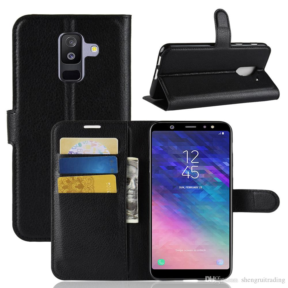 Litchi Pattern Flip Magnetic PU Leather Wallet Stand Case For Samsung  Galaxy A6 Plus A6 2018 / j8 Plus J8 2018 J7 Duo Lychee grain cover