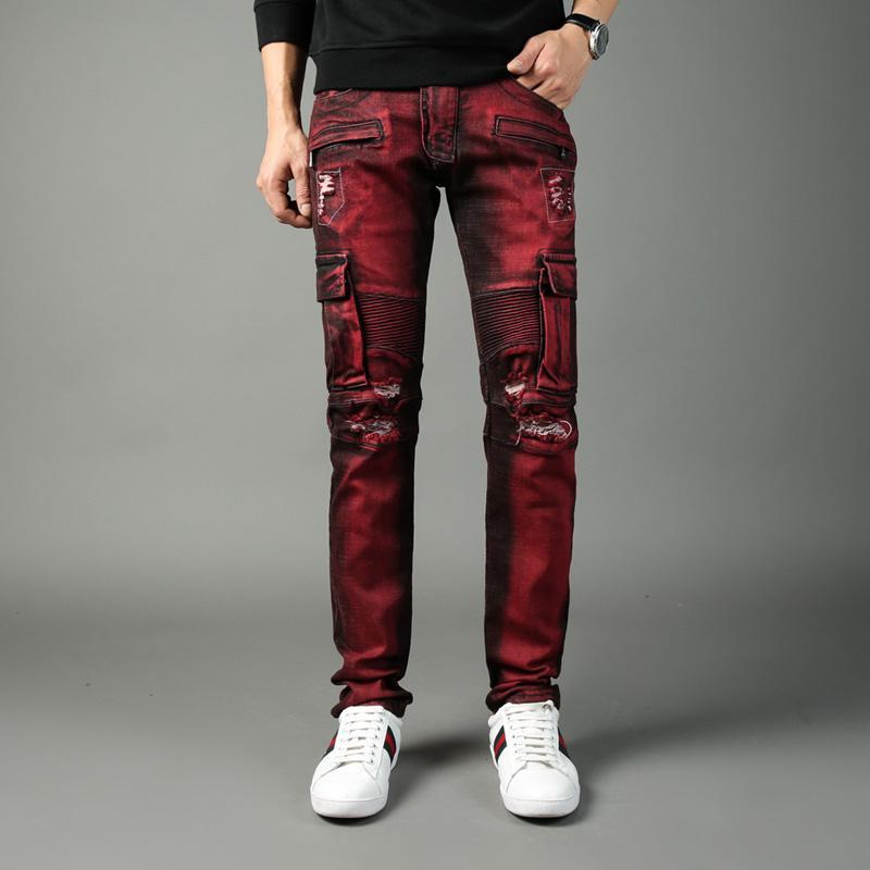 Compre High Street Moda Hombre Jeans Bolsillos Grandes Pantalones De  Mezclilla Cargo Color Rojo Slim Fit Pantalones Vaqueros Rasgados Hombres  BalBrand Biker ... 3cd75fc146f