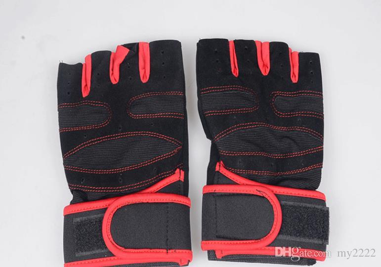 Half finger exercise for weight lifting wrist guard gloves
