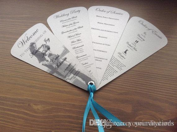 Fancy And Elegant Wedding Programs In Fan Style Beach Wedding Cards