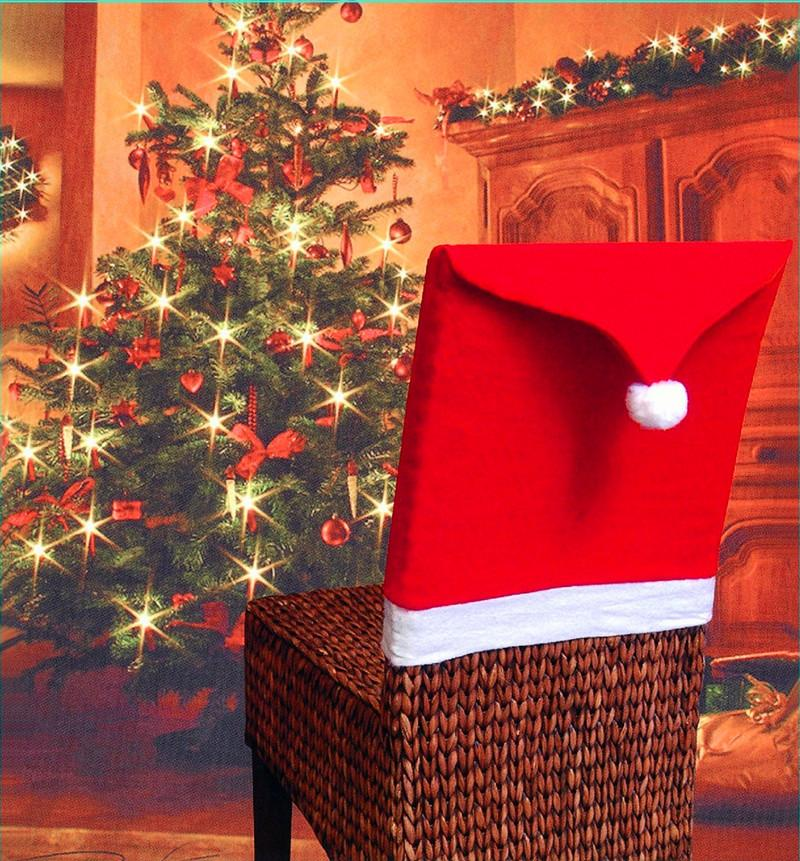 Santa Claus Cap Chair Cover Christmas Dinner Table Party Red Hat Back Covers Xmas Decoration 2017 Seat Dining Room Chairs Cheap