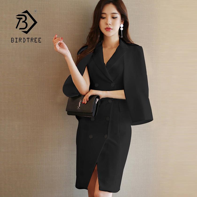2019 New Arrival Women Solid Black Short Cloak High Waist Double